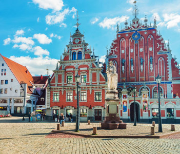 House of Blackheads and people on the Square in the historical center in the old town Riga Latvia