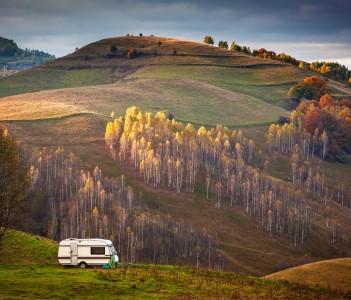 Autumn landscape in Apuseni mountains Transylvania Romania