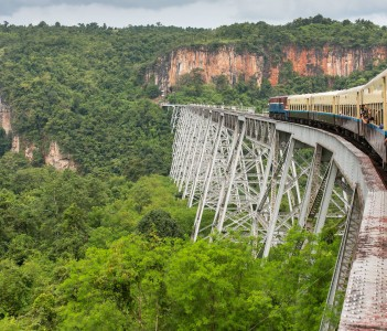 Passing the Famous Viaduct Goteik between Pyin Oo Lwin and Hsipaw