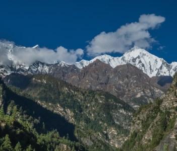 Chame village Lamjung Himal majestic peak  Manang district Gandaki zone Nepal Himalayas Nepal