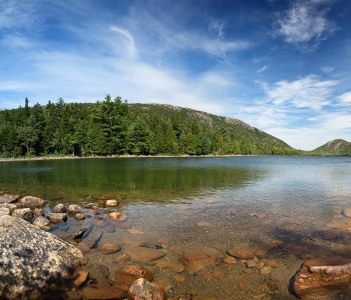 A panorama of Jordan Pond Acadia National Park Mount Desert Island Maine USA