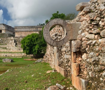 Ring Mayan ball game in the ancient city of Uxmal. Mexico