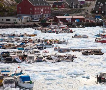 The harbor of Ilulissat, Greenland.