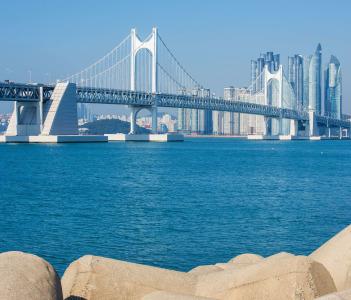 Gwangan bridge and Haeundae in Busan, Korea