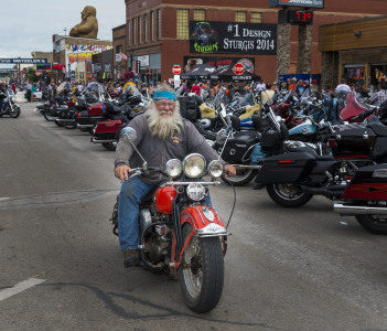 Rider in the main street of the city of Sturgis in USA