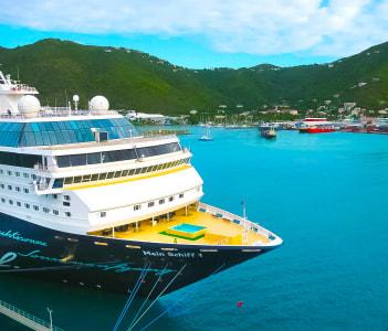 Cruise ship Mein Schiff docked in port Caribbean at Road Town, Tortola, British Virgin Islands.