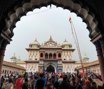 Janaki Mandir, example of the Rajput architecture in Nepal, dedicated to goddess Sita, Janakpur, India