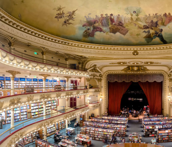 The famous bookshop El Ateneo Grand Splendid. It's situated in Santa Fe Avenue. It was placed as the second most beautiful bookshop in the world.