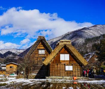 Historic Village of Shirakawa Go at winter in Gifu Japan