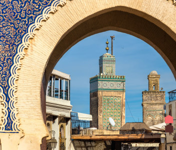 Minarets of Fes seen throuth Bab Bou Jeloud Gate - Morocco
