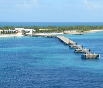 Cruise ship pier and beaches in Grand Turk in Turks and Caicos Islands