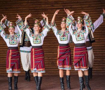 Ukraina School of Dance Ensemble dressed in traditional red Ukrainian embroidered costume clothes dancing at 14th Washington Ukrainian festival