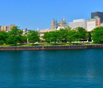 Erie Marina Basin and Buffalo skyline Buffalo NY USA