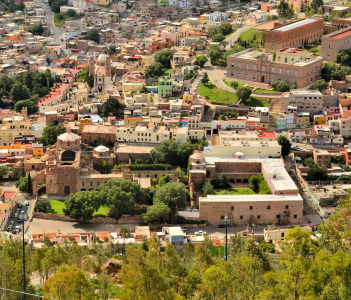 Zacatecas is a former Spanish colonial silver mining town with a lot of colonial architecture in Central Mexico.