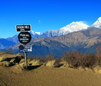 Panoramic Annapurna Mountain view from Poon Hill 3210 m