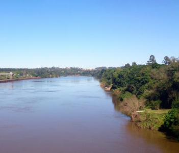Taquari river with muddy waters viewed from the bridge in Lajeado