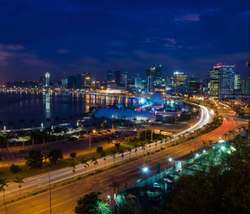 Skyline of Luanda and its seaside during the blue hour
