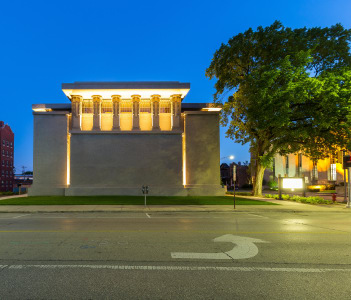 Frank Lloyd Wright's Unity Temple as seen at dusk in this Chicago suburb in Oak Park USA