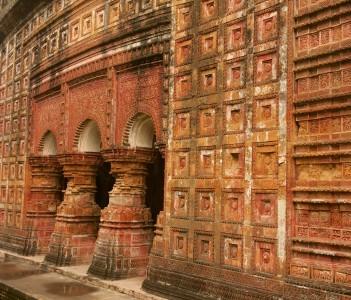 Terracotta decorated walls of Pancharatna Govinda Temple in Puthia, Rajshahi Bangladesh