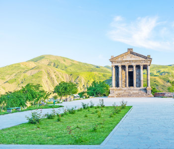 The Temple of Garni is the best known pre-christian landmark of the country located on the cliff of Garni gorge Kotayk Province Armenia.