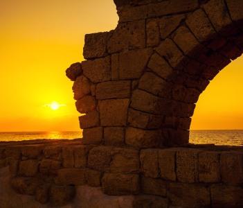 Aqueduct in ancient city Caesarea, Israel