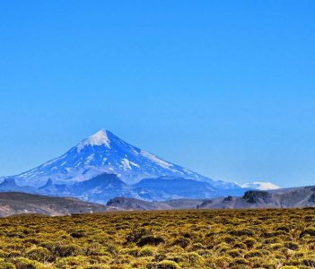 The Lanin vulcano over the steppe, in Neuquen
