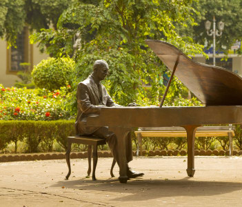 Bronze sculpture of Brazilian composer Ary Barroso Uba Brazil