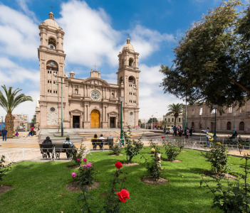 View of the cathedral church of Tacna, Peru