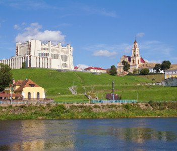 Panoramic view Grogno city and Neman river in Hrodna Belarus