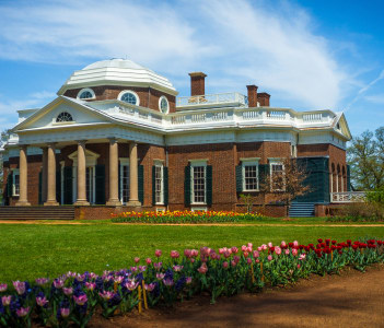 View of Thomas Jefferson's Monticello estate from the path on the front lawn in Charlottesville USA
