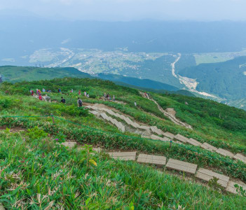 Trekking trail on Shirouma mountains in Hakuba, Nagano, Japan