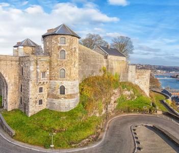 Panoramic view on Citadel in Namur Wallonia, Belgium.