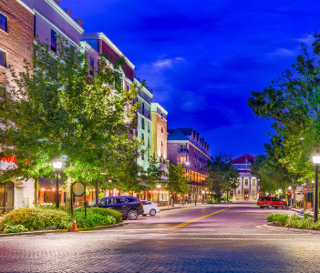 Downtown at twilight in Gainesville in USA