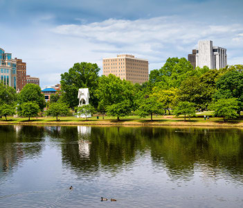 Cityscape scene of downtown Huntsville Alabama