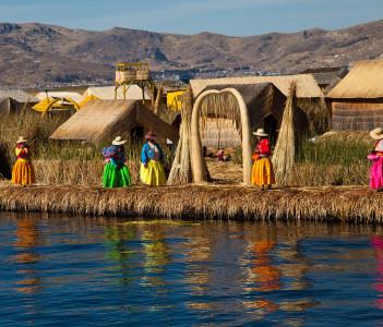 The floating and tourist  Islands of lake Titikaka