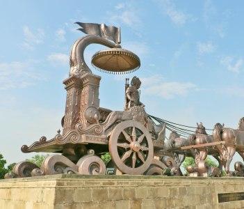 Giant Krishna-Arjuna chariot made of bronze metal in Kurukshetra Haryana India