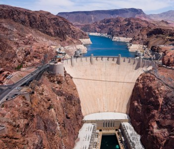 Aerial view of Hoover Dam in USA