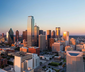 Dallas Texas cityscape with blue sky at sunset Texas
