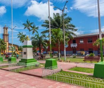 Panoramic view of Main Square of the town Circa, Nauta, Peru