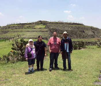 At Cuicuilco archeological site with friends from California