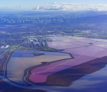 Aerial view of special colorful salt ponds of Newark in USA