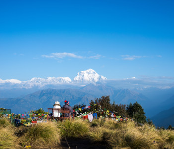 The back of people in morning on Poon Hill at Himalaya Nepal