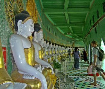 Buddhas in the long building Umin Thounzeh Sagaing Myanmar