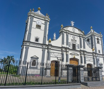 Cathedral outdoors view on sunny day from Rivas, Nicaragua