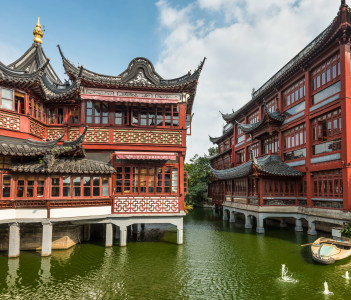 Garden of Happiness (Yuyuan Garden) Shanghai's landmark with heritage building architecture Shanghai China