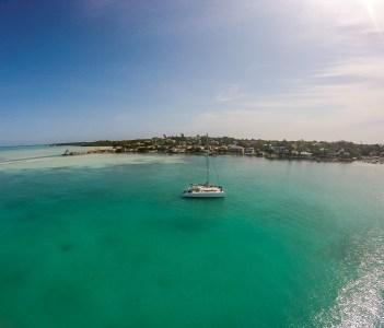 Catamaran anchored in Harbour Island in Bahamas