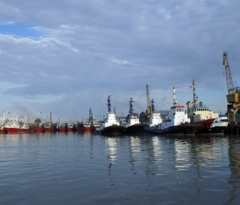 Fishing boats and tugs in the port of Bahia Blanca Argentina