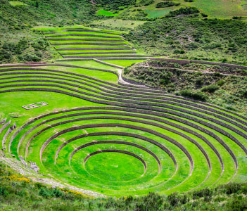 Agricultural terraces in the Sacred Valley Moray in Cusco Peru