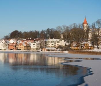 Talsi city in winter in Latvia