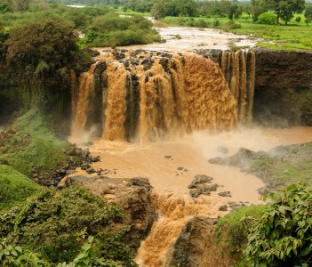 Waterfall on the Blue Nile flowing from the Tana lake in Ethiopia